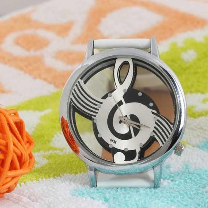 2018 جديدة فاخرة ماركة أزياء وعارضة تدوين الموسيقى مذكرة ساعة المقاوم للصدأ ساعات اليد للرجال والنساء الفضة