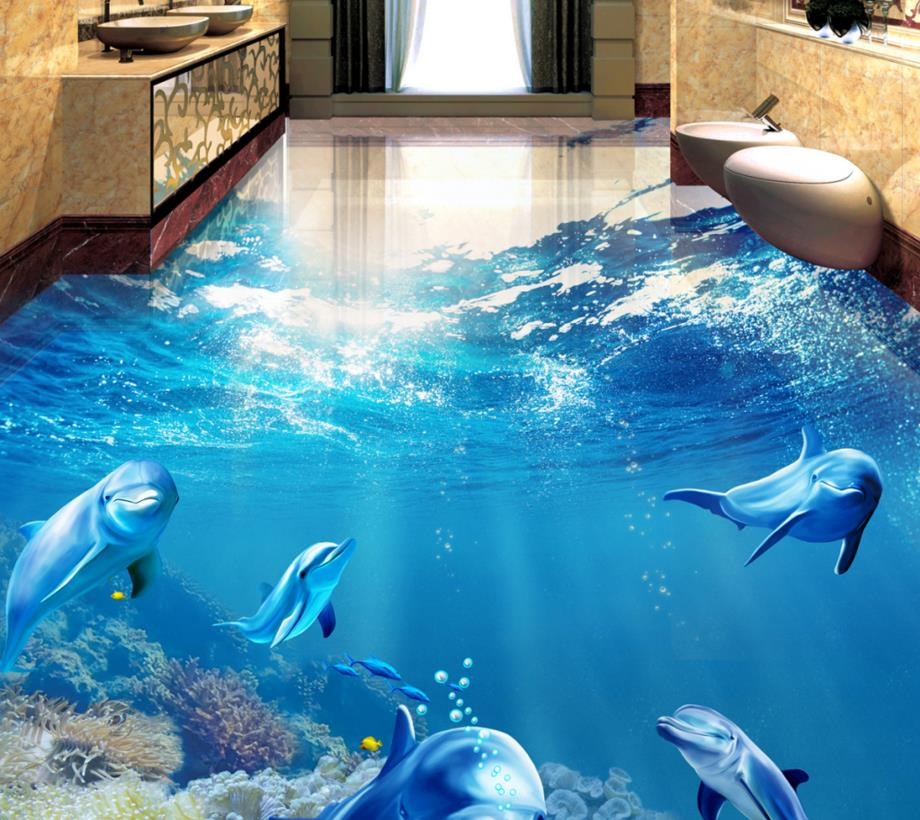 Custom 3d floor tiles modern 3d floor tropical fish dolphin self-adhesive waterproof floor wallpaper for walls 3 d battlefield 3 или modern warfare 3 что