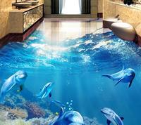 Custom 3d Floor Tiles Modern 3d Floor Tropical Fish Dolphin Self Adhesive Waterproof Floor Wallpaper For
