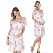 22d824d4c Vestidos de maternidad flor Floral correa de hombro ropa de embarazo  embarazada de señora de las mujeres ropa de verano Mini ves.