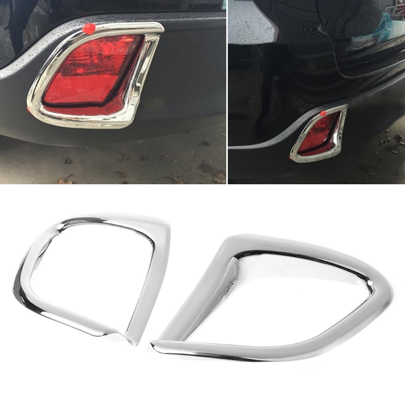 2Pcs Chrome Rear Fog Light Lamp Cover Trim Fit For Toyota Highlander 2014 2015 2016 2017