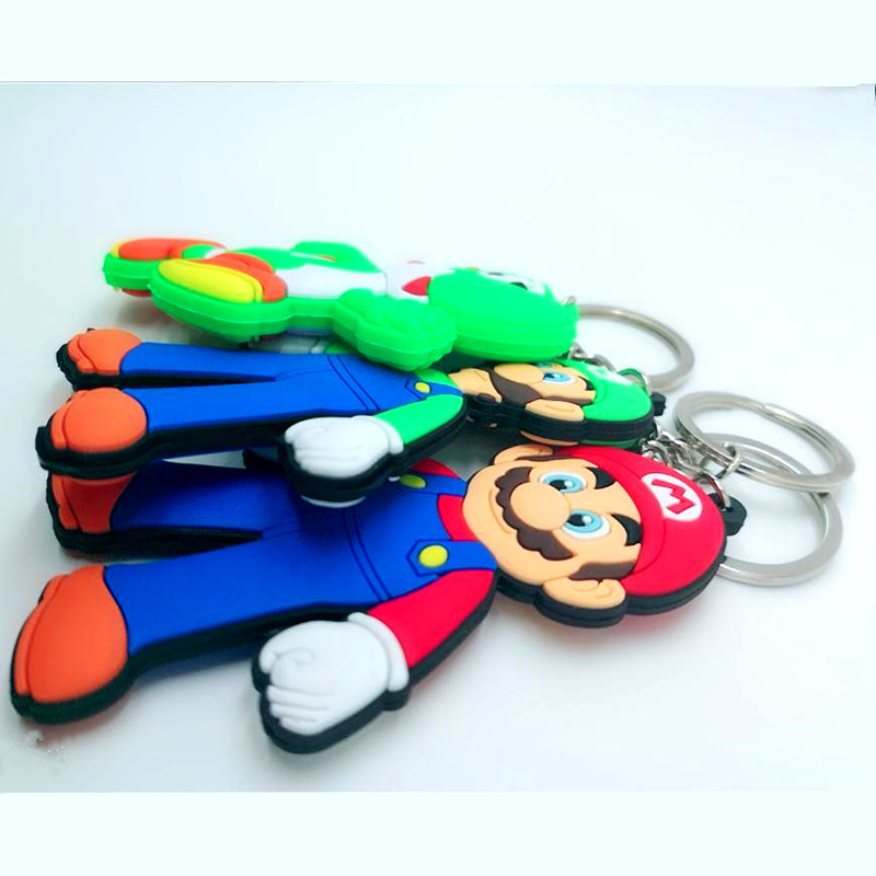 Game Super Mario Bros pvc key chain Luigi Mario Peach princess Bowser cartoon figures keyring man kid llaveros hombre keychain in Key Chains from Jewelry Accessories