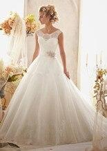 Custom Made Vestido De Noiva Satin Organza Beading Crystal Sash A-Line Lace Wedding Dress Robe Mariage