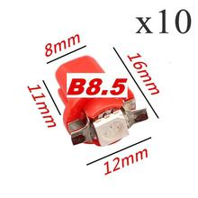 цена на 10Pcs B8.5 Car LED 8MM 1.2W 50lm 6500K 5050 SMD  red Light Car Dash Board Instrument Lamp (DC 12V )