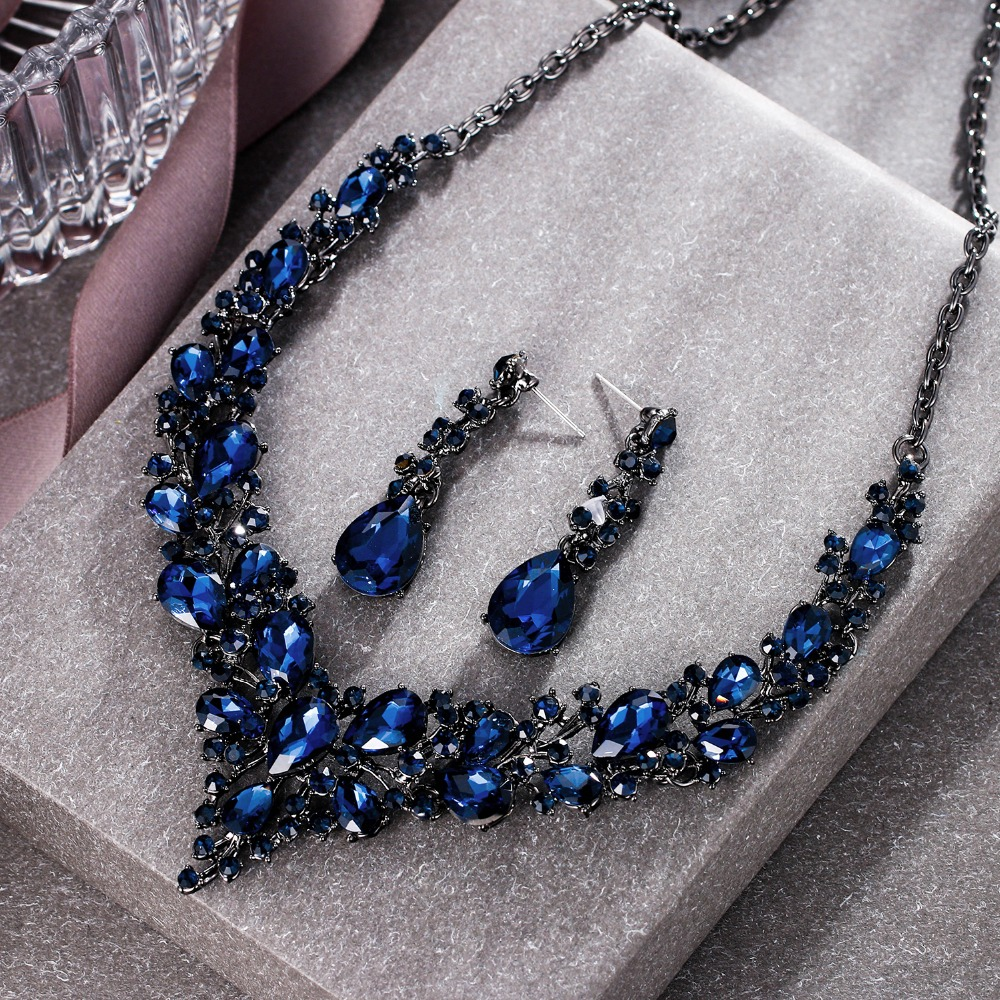 Tuliper Cluster Flower Bridal Jewelry Set Austrian Crystal Wedding Necklace Earrings Set Women Party Collier Colares Mangalsutra