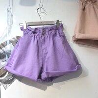 Korean Ulzzang Crimping Candy Colors Femme Denim Shorts 2018 New Summer Loose Feminino Wide Leg Shorts