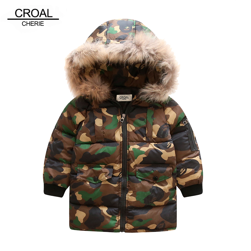 CROAL CHERIE 80-130cm Real Fur Hooded Winter Children Jacket For Teenage Boys Camouflage Winter Coat Long Style Thick Outerwear cherie cherie lip balm mint