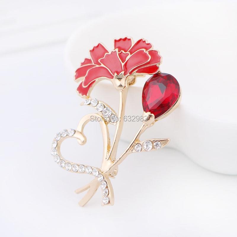 Corazón elegante Clavel Pasadores broche bouquet rhinestone Flor del ...