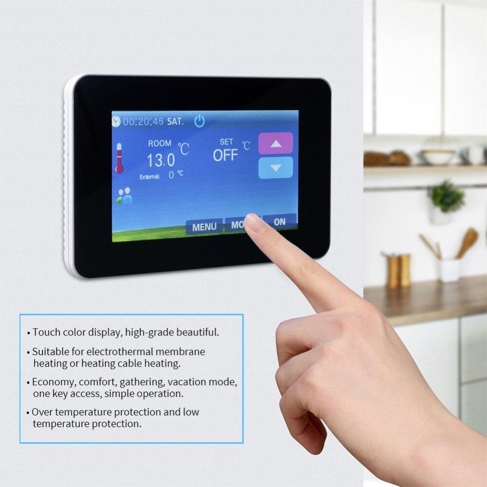 16A 230 V AC contrôleur de température de chauffage par le sol numérique LCD Thermostat d'air ambiant Programmable régulateur de température Intelligent