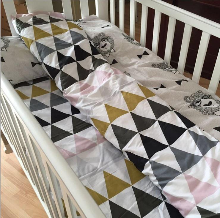 3 pièces mousseline blanc ours bébé ensemble de literie 100% coton berceau lignes ensemble comprennent drap de lit housse de couette taie d'oreiller sans remplissage