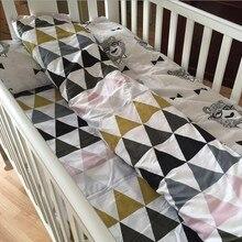 3pcs Muslin White Bear Baby Bedding Set 100% Cotton Crib Lin