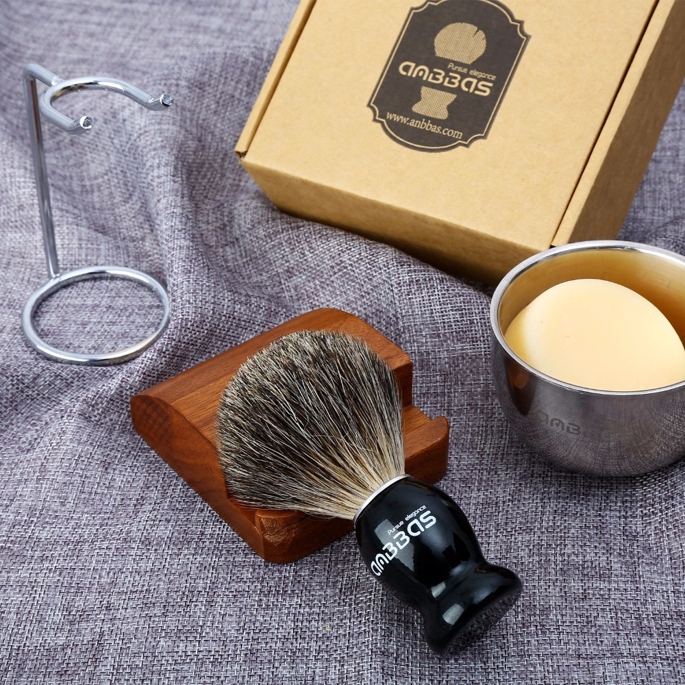 Anbbas Mens Shaving Set Fine Badger Bristle Shave Brush+Stand+Bowl Cup+Soap