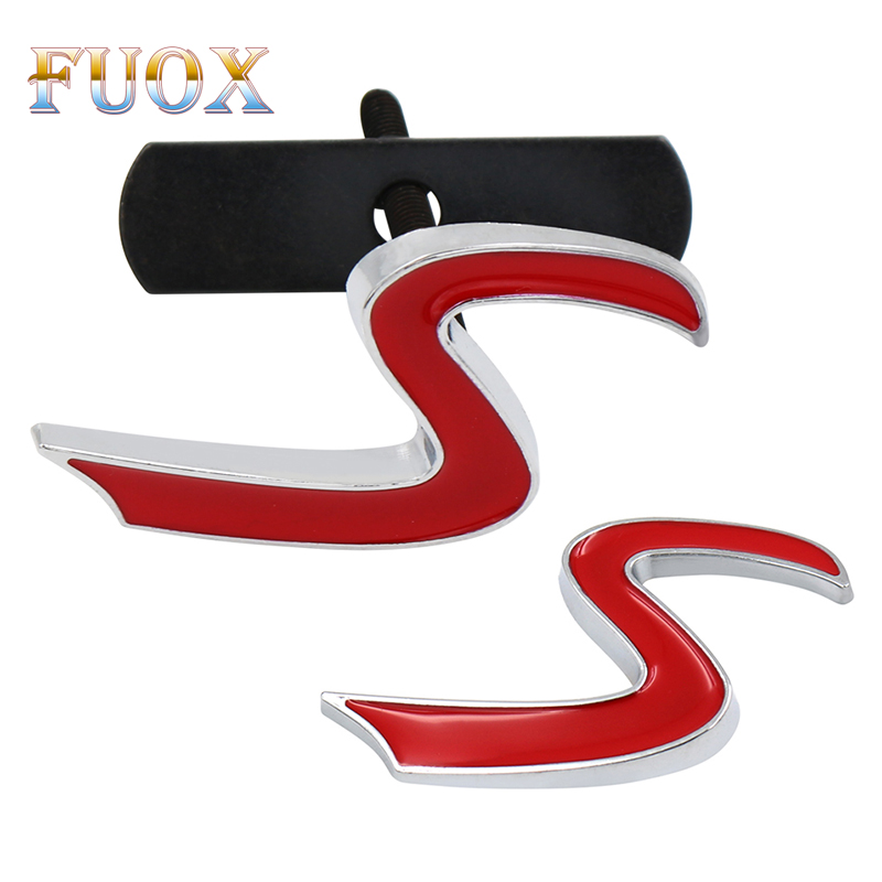 3D Metal S Front Grille Chrome Emblem Sticker For Mini Cooper R50 R52 R53 R56 R57 R58 R60 Grill Badge Decals Exterior Accessorie