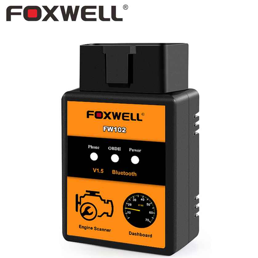 FOXWELL FW102 ELM327 V1.5 OBD2 Bluetooth Adaptador PIC18F25K80 Lector de Código Del Coche escáner OBD 2 OBDII Herramienta de Análisis DEL OLMO 327 V 1.5 25K80