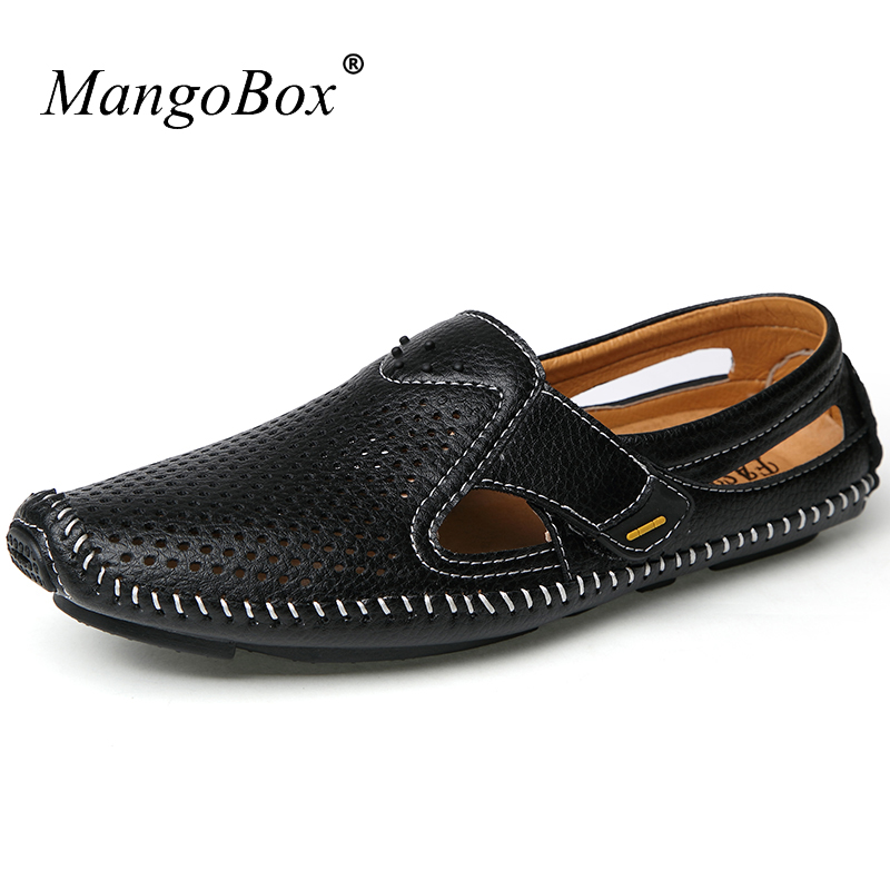 Mens Leather Sandals Black Blue Sandals Men Outdoor Breathable Mens Sandals Casual Spring Summer Beach Shoes