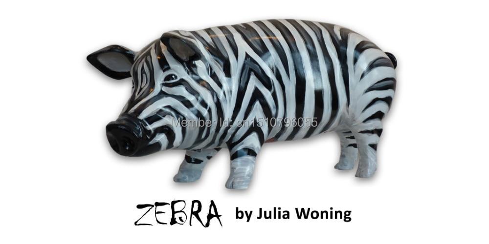 "Polyresin Art Pigs Collectible pigs Umělá prasata sochy ""Zebra"" prasata"