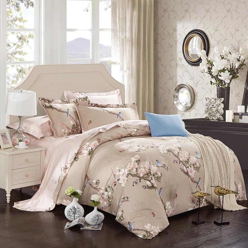 100% coton doux linge de lit ensemble fleurs oiseaux imprimer ensembles de literie roi reine taille lit ensemble de draps housse de couette oreiller Sham