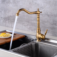 Kitchen Sink Faucets Retro Brass Antique Bronze Single Handle Kitchen Basin Faucets Deck Mounted Hot and Cold Water Mixers Taps