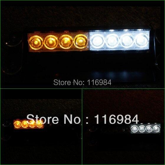 8-LED Emergency Vehicle Warning Strobe Flash Light 4-LED Yellow & 4-LED White ...