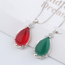 Korean edition silver s925 green chalcedony pendant female green agate necklace national wind simple fashion to birthday 2018 top fashion sale agate s990 peacock peacock cloud chalcedony agate long silver chain sweater pendant wholesale
