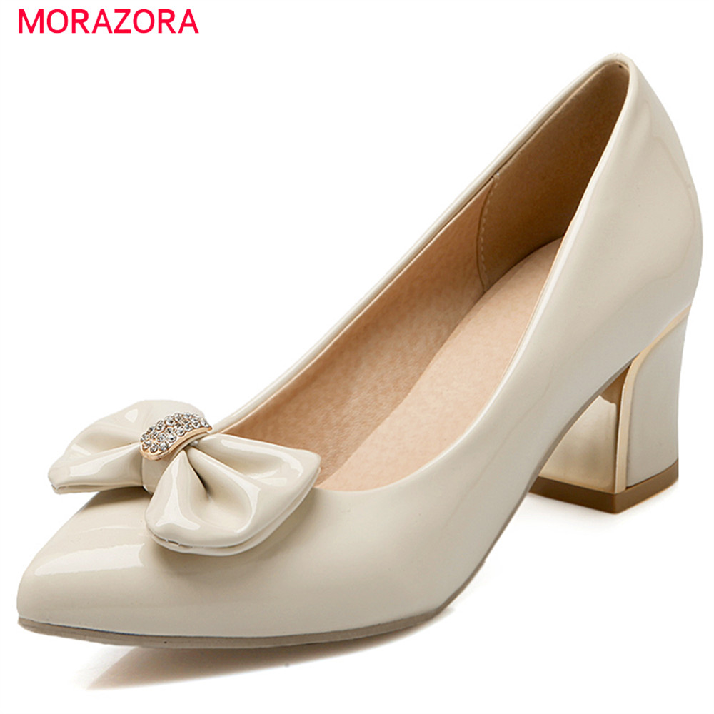 MORAZORA spring summer 2018 pumps women shoes with butterfly knot pointed toe high heels square heel sweet woman shoes new 2017 spring summer women shoes pointed toe high quality brand fashion womens flats ladies plus size 41 sweet flock t179