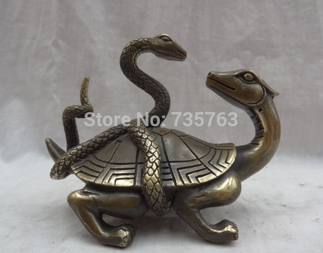 0013134 Chinese Zodiac Bronze YuanBao Snake Ride Dragon Turtle Statue