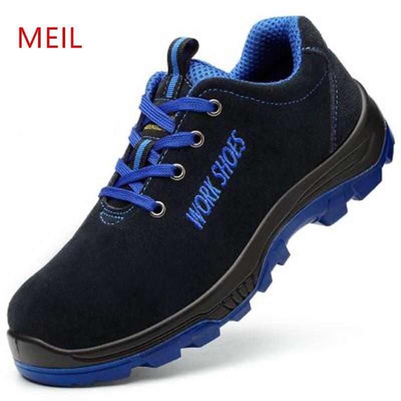 MEIL hombres transpirable zapatos de seguridad con punta de acero punción con entresuela prueba resistencia al deslizamiento ligero botas de trabajo