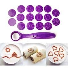 Волшебная ложка для специй, инструменты для украшения пищи, Funning kitchen 16 различных декоративные изображения, кофейные ложки для торта