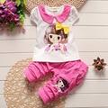 Nueva ropa del bebé Lindo de los bebés ropa de niña t-shirt + pants 2 unids traje de algodón ropa de bebé recién nacido conjunto