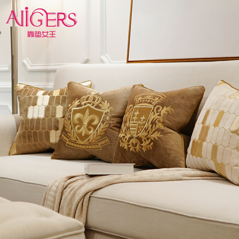 Avigers Embroidery Velvet Cushion Cover Luxury European Pillow Cover PillowCase Geometry Home Decorative Sofa Chair Throw Pillow