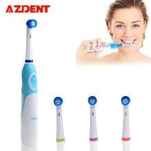 AZDENT Вращающаяся электрическая зубная щетка, работающая с 4-мя щетками для головы Устные гигиенические средства для здоровья Нет перезаряжаемой зубной щетки