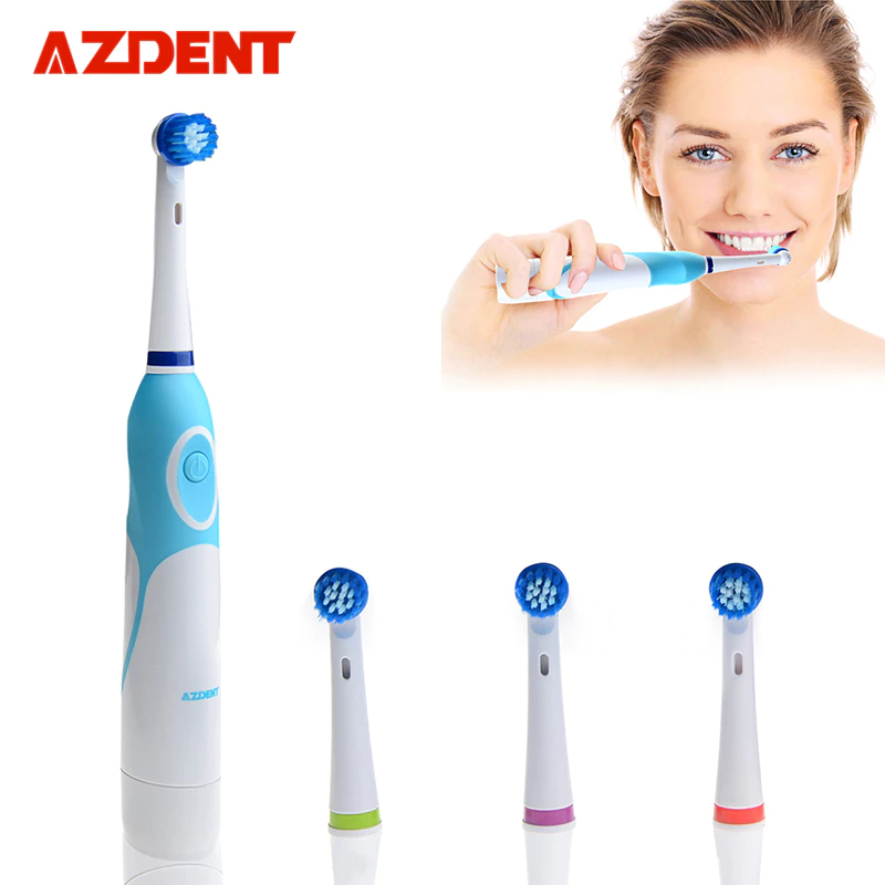 AZDENT Rotierende Elektrische Zahnbürste Batterie Betrieben mit 4 Pinsel Köpfe Oral Hygiene Gesundheit Produkte Keine Wiederaufladbare Zahn Pinsel