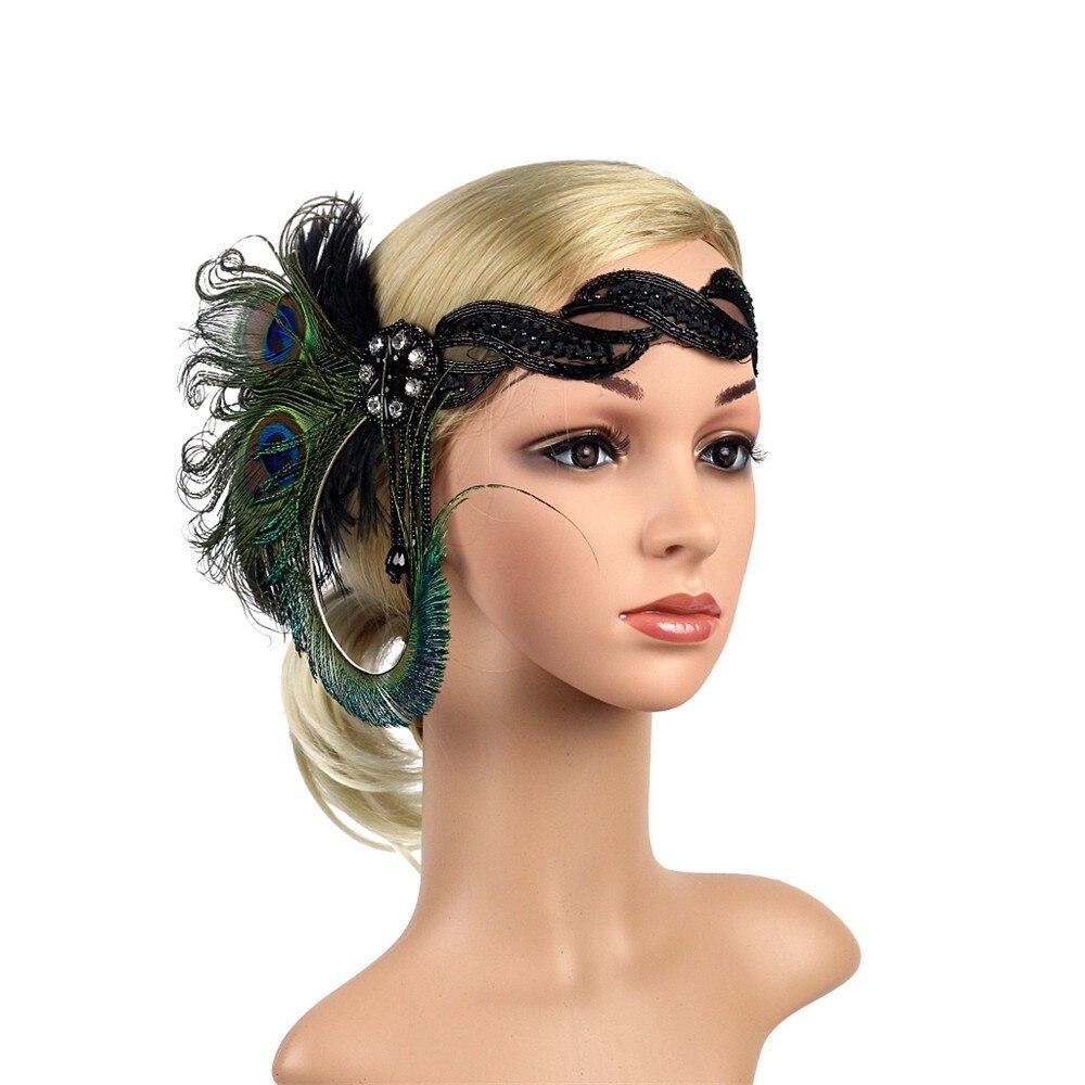Women Headband Vintage Headpiece Feather Flapper Headband Indian Feather Headdress Great Gatsby Headdress Hair Accessories A85 headpiece