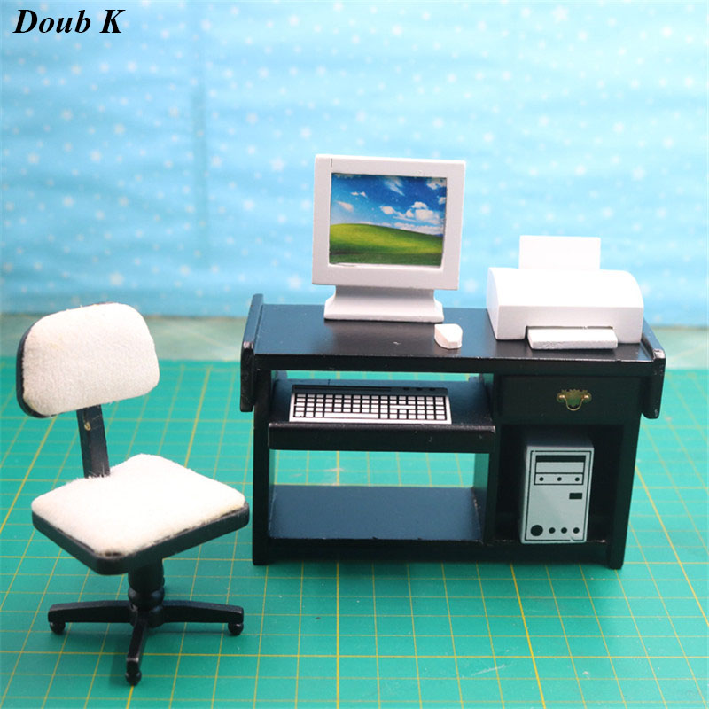 Us 24 39 39 Off Doub K 1 12 Wooden Dollhouse Furniture Toy Miniature Simulation Mini Computer Desk Set Pretend Play Toys For Girls Doll House In