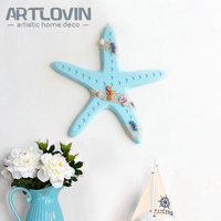 Popular Nautical Beach Style Wood Home Wall Decoration Accessories Ornament Starfish Model large size Blue Wooden Sea Crafts