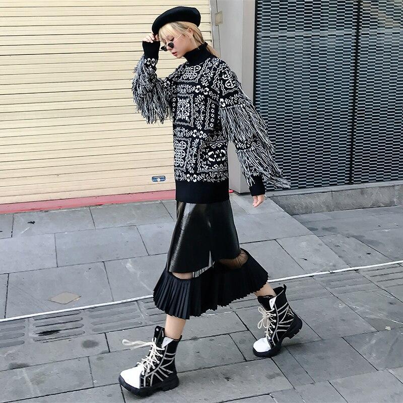 Automne Gland Impression À Black Pulls Col Tricoter Marée De Pleine Roulé ewq Manches Ob583 Hiver Chandail Nouveau 2018 Femmes Mode gx8pE1