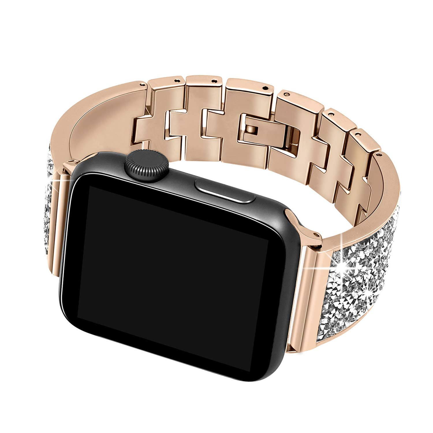Luxury Diamond Case+strap For Apple Watch band 44mm 40mm 38mm 42mm cover iWatch Series 4 3 2 1 Stainless Steel bracelet women-in Watchbands from Watches    3