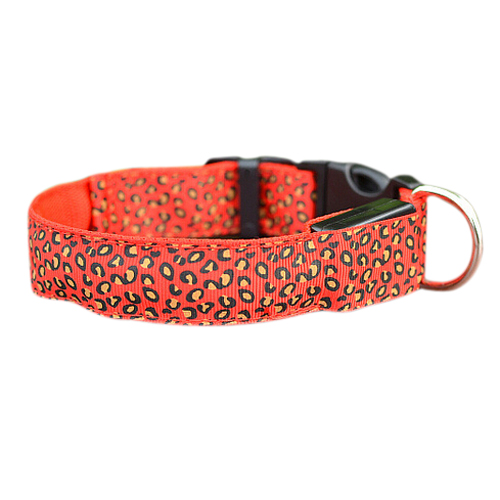 Durable Flashing LED Safety Dog Collar, Adjustable Size S,M,L red