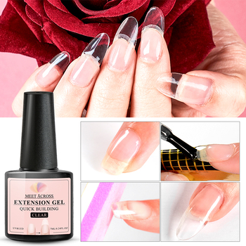 MEET ACROSS 7ml Acrylic Poly UV Nail  Gel Quick Building Nail Gel Polish Clear Clear Nail Tips Builder UV Gel Base Top Needed soak off poly gel uv acryl gel quick building 15ml finger extension polygel builder gel camouflage uv led hard builder nail gel
