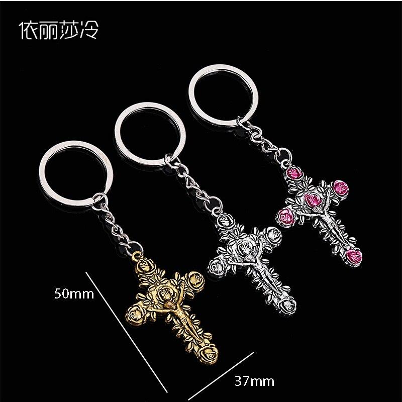 48 pièces/jésus croix porte-clés croix rose rose porte-clés catholique vierge marie miséricorde mère jésus charme cadeau bijoux