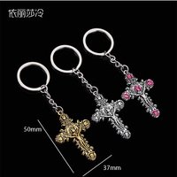48 pieces / Jesus cross key ring cross pink rose key ring Catholic Virgin Mary mercy mother Jesus charm gift jewelry