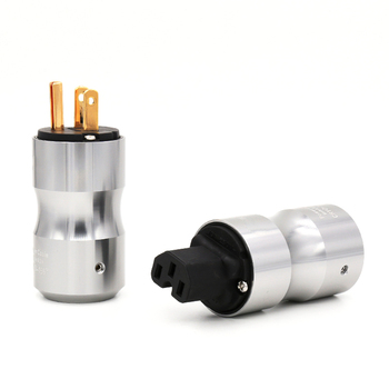 One pair Gold Plated US Power Plug Connector American Standard Power Cord Plug+IEC Female Terminals