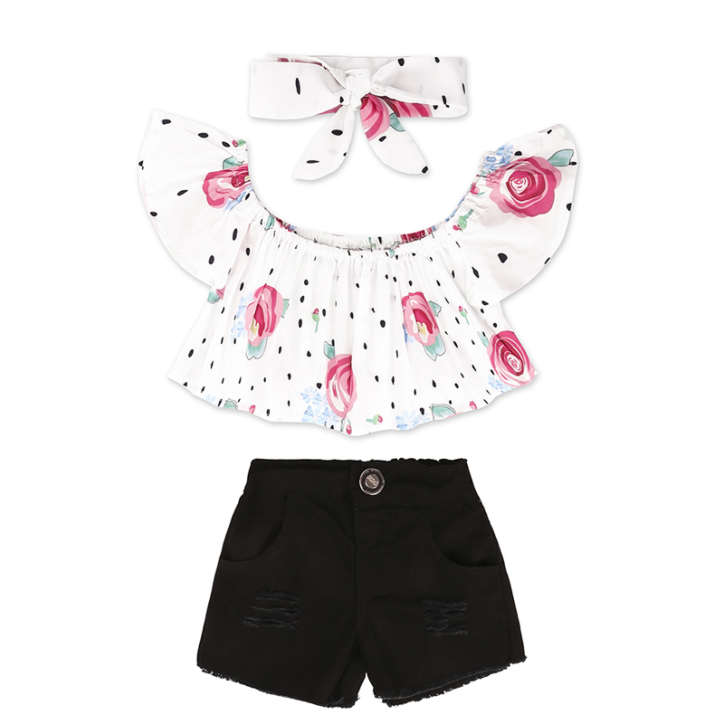 006f05f3c6f Fashion Summer Kids Girls Clothing Sets Cotton Prints Dots T-Shirt +Shorts+Headband