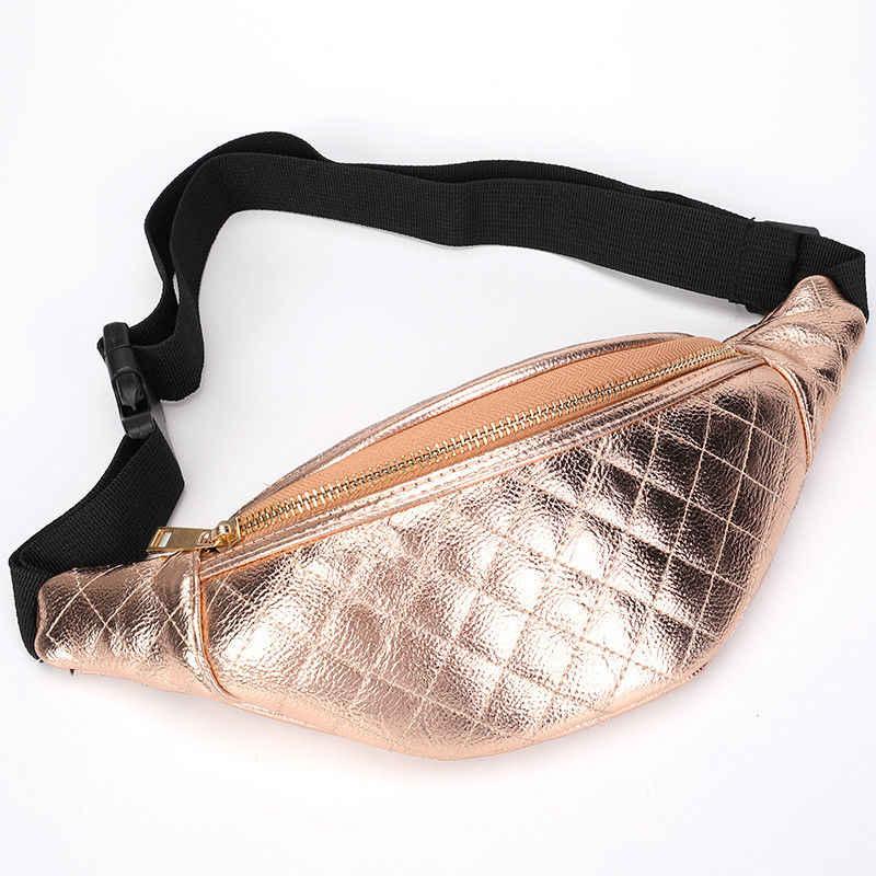 女性のカジュアルダイヤモンドパターンファニーパック女性ポータブル光沢のある Pu レザーベルト · ウエスト電話のポケット