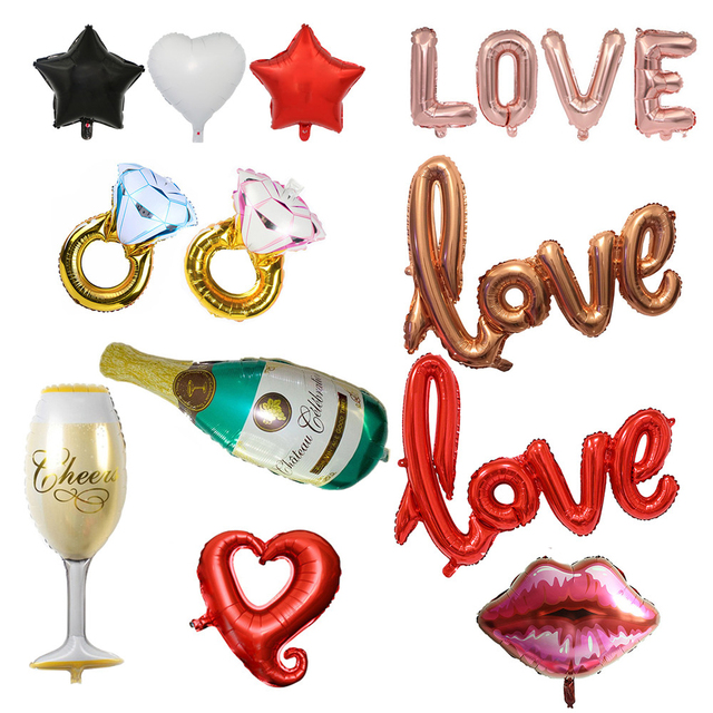 Love Foil Balloon Anniversary Balloon for Wedding Decoration Bachelorette Birthday Party Decorations Adult Event Party Supplies