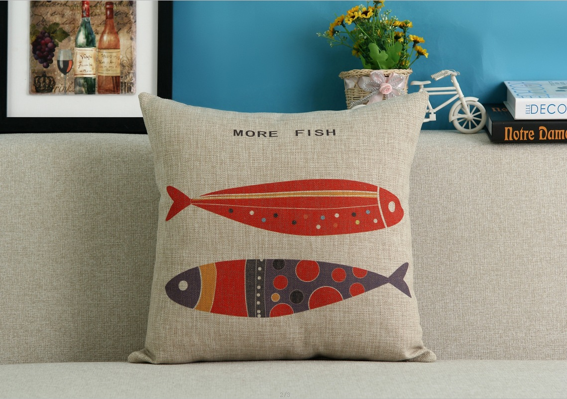 Rainbow Fish Cartoon Pillow Cases Gift Home Decoration Decor Emoji Kid Throw Massager Decorative Vintage Pillows Cover in Cushion Cover from Home Garden