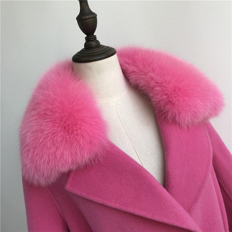 Las mujeres abrigo de cachemir con cuello de piel de zorro chaqueta de lana con cinturón invierno otoño Slim dama 2018 largo abrigo de las mujeres abrigo de lana - 6