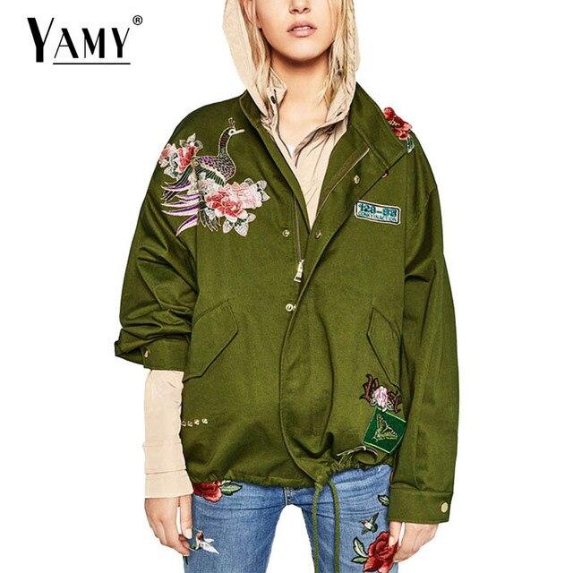 2017 Цветочный Вышивка Военный бомбардировщик куртка женщин основные пальто с длинным рукавом Заклепки полета повседневная punk пиджаки плюс размер