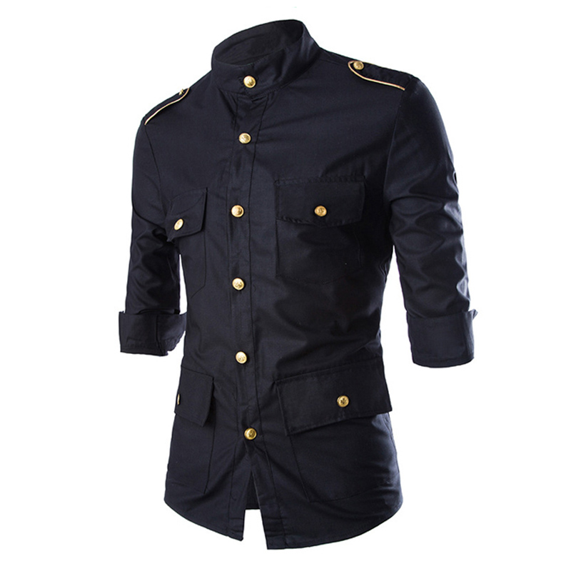 2018 Summer New Men'S Wear Shoulder Decoration Black Three Quarter Sleeves Shirt Slim Men'S Solid Color Square Collar Shirts