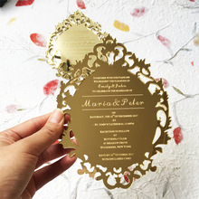 Customized 5x7inch Laser Engraved letters Vintage Hollow Style Golden Mirror Acrylic Invitation Card 100pcs Per Lot